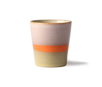 HK-Living Keramik 70er Jahre Tassen Saturn - Set von 6 Stück