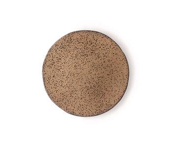 HK-Living Piatti in ceramica sfumata taupe - set di 4 pezzi