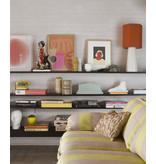 HK-Living Bloemen jacquard geweven kussen - burghundy/geel