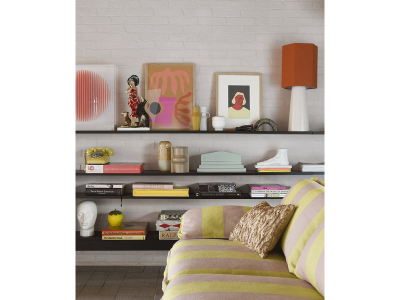 HK-Living Blommig jacquardvävd kudde - burgundig / gul