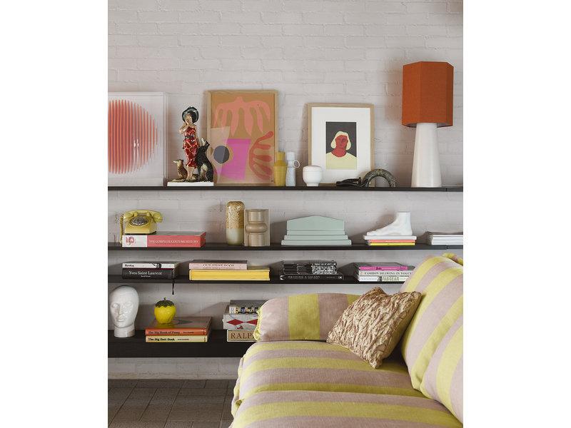 HK-Living Floral jacquard woven cushion - burghundy / yellow