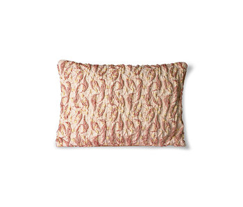 HK-Living Floral jacquard woven cushion - burghundy / yellow