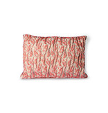 HK-Living Floral jacquard woven pillow - red / pink