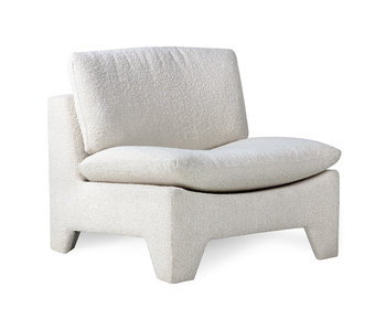 HK-Living Retro Lounge Sessel Boucle Creme