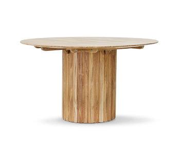 HK-Living Table à manger pilier ronde - teck