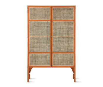 HK-Living Retro- Gurtbandschrank mit Regalen - Orange