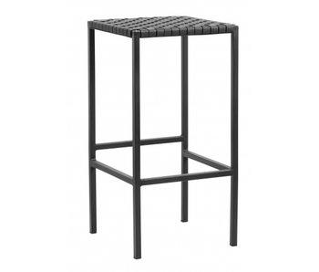 Nordal Barstuhl aus schwarzem Leder / Metall