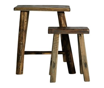 Nordal Rough Hocker Holz - Set von 2 Stück
