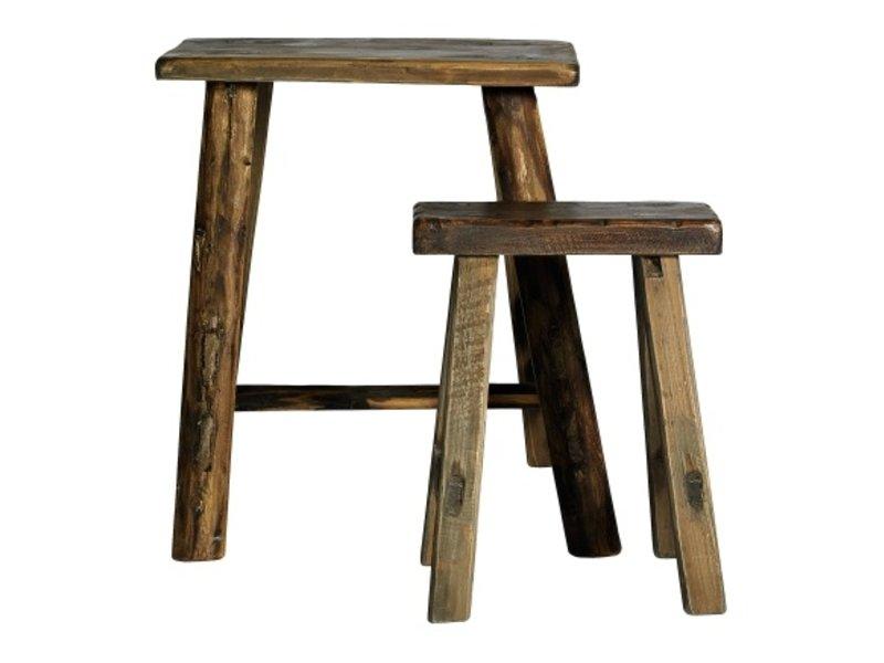 Nordal Tabourets bruts en bois - set de 2 pièces