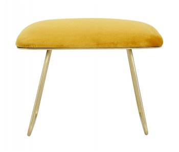 Nordal Warm stool with golden legs - yellow