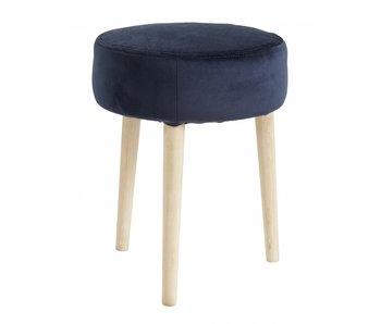 Nordal Velvet stool blue