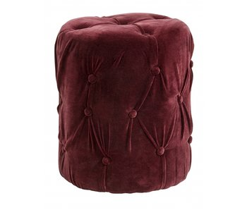 Nordal Velvet ottoman with buttons - burghundy