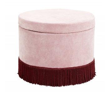 Nordal Corduroy ottoman with lid - pink / burghundy