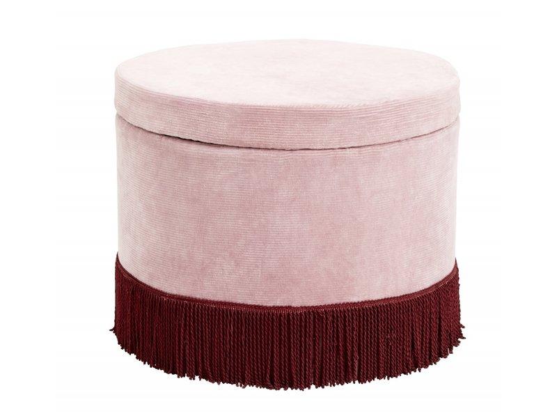 Nordal Pouf en velours côtelé avec couvercle - rose / bordeaux