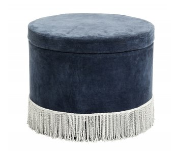 Nordal Corduroy ottoman with lid - navy / light blue