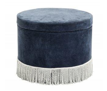 Nordal Pouf en velours côtelé avec couvercle - bleu marine / bleu clair