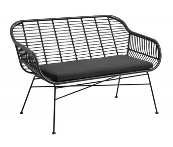 Nordal Garden bench incl. Cushion - black