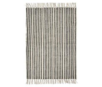 Nordal Ränder matta - benvit / svart 200x250 cm