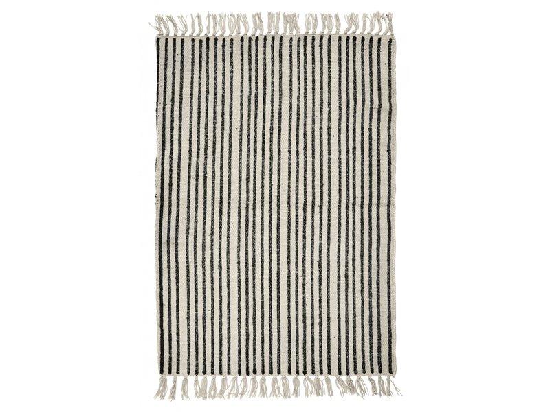 Nordal Stripes vloerkleed - gebroken wit/zwart 200x250cm