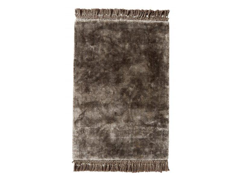 Nordal Noble vloerkleed met franjes - warm grijs 200x290
