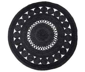 Nordal Ball round rug with pattern - black