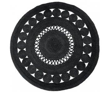 Nordal Kugle rundt tæppe med mønster - sort