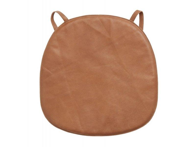 Nordal Cuscino sedile in pelle per sedia - marrone