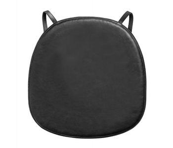 Nordal Coussin de siège en cuir pour chaise - noir