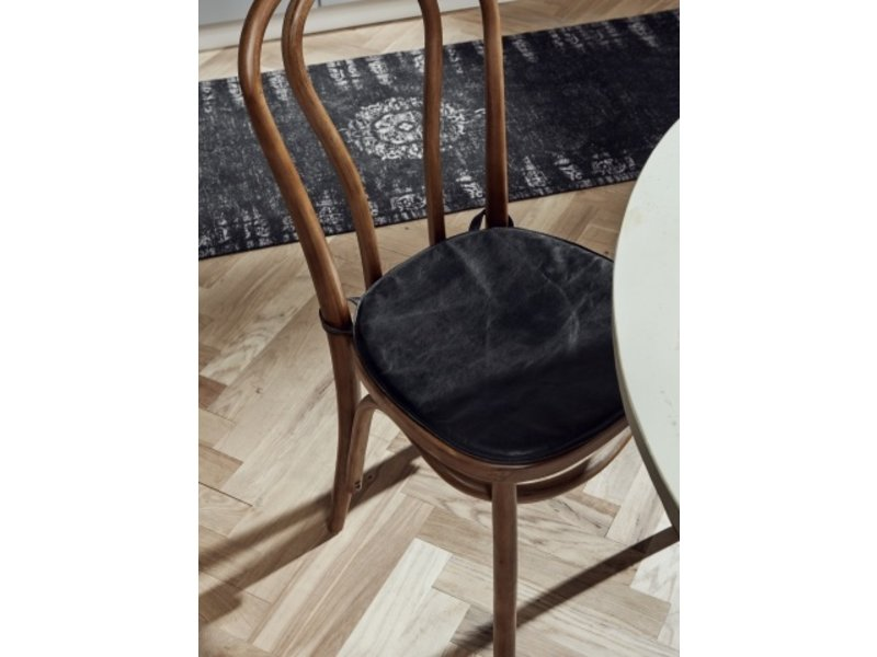Nordal Cuscino sedile in pelle per sedia - nero