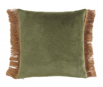 Nordal Cushion with fringes incl filling - green
