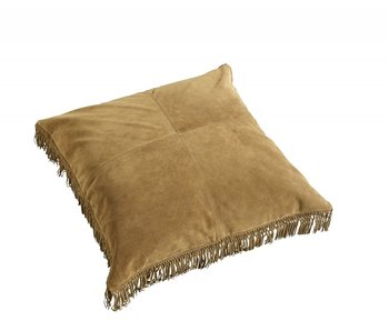 Nordal Hippie leather cushion incl filling - brown 80x80cm