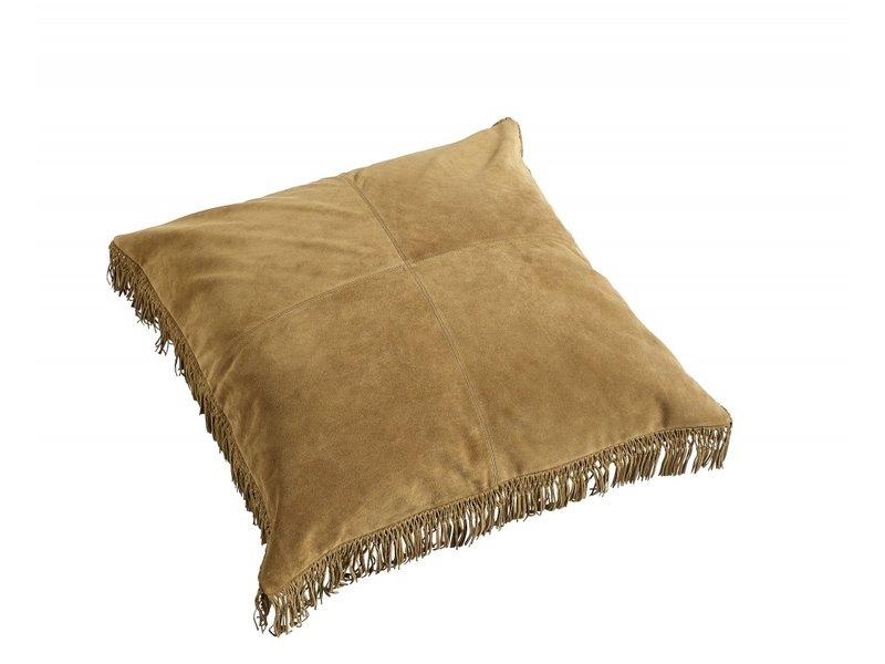 Nordal Hippie læderpude inkl. Fyldning - brun 80x80 cm