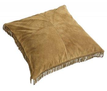 Nordal Cojín de cuero hippie con relleno incluido - marrón 100x100cm