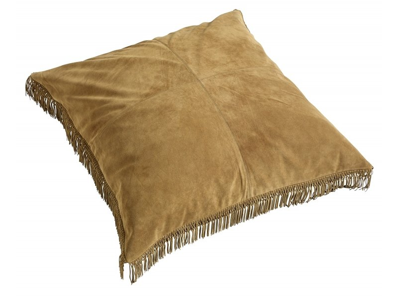 Nordal Hippie læderpude inkl. Fyldning - brun 100x100 cm