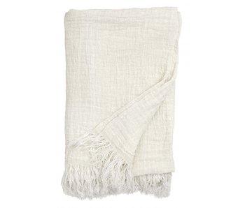 Nordal Colcha de lino con flecos - blanco