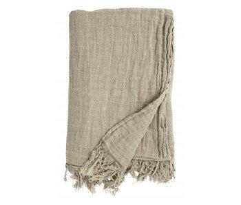 Nordal Colcha de lino con flecos - natural