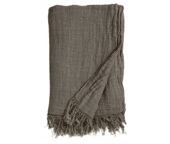Nordal Bedspread with fringed linen - gray / brown