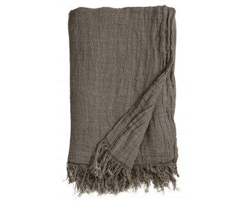 Nordal Colcha de lino con flecos - gris / marrón
