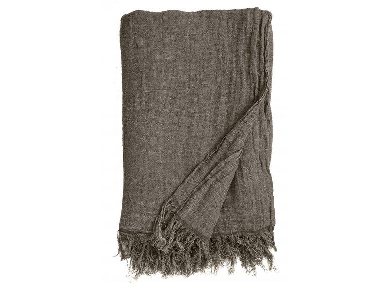 Nordal Bedsprei met franjes linnen - grijs/bruin