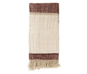Nordal Bedspread with fringed linen - burgundy / pink