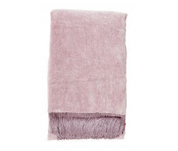 Nordal Velvet plaid with fringes - light purple