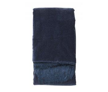 Nordal Velvet plaid med frynser - mørkeblå