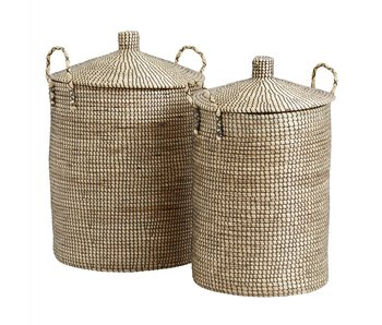 Nordal Laudy laundry baskets set of 2 pieces - natural / black