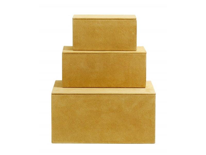 Nordal Kasse opbevaringsbokse sæt med 3 stykker - gul