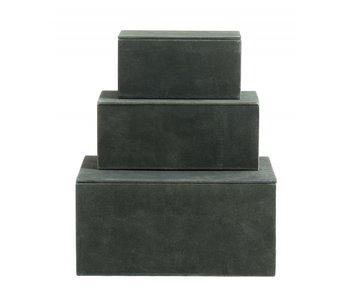 Nordal Kasse opbevaringsbokse sæt med 3 stk - grøn