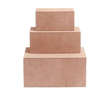Nordal Caja de cajas de almacenamiento conjunto de 3 piezas - rosa