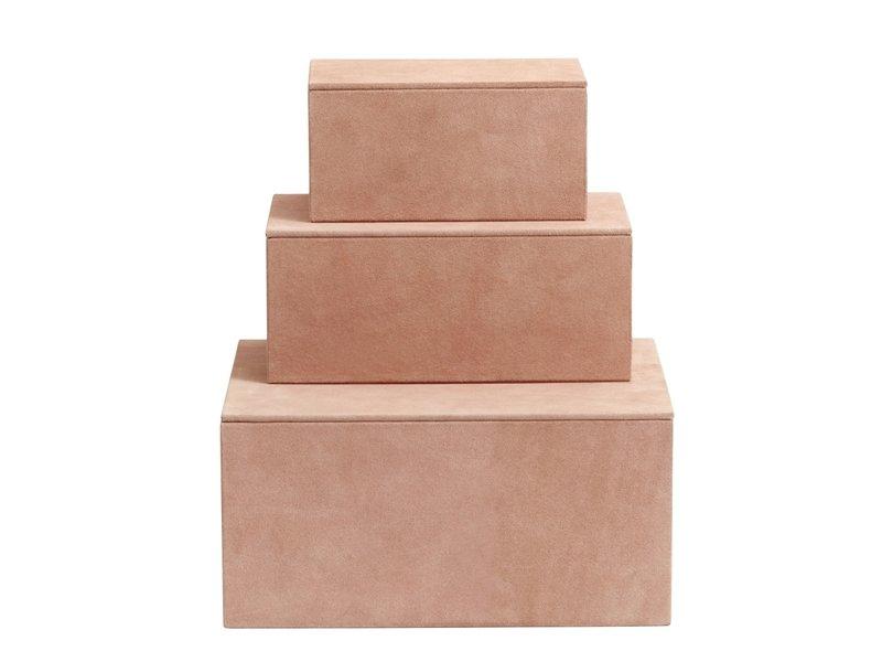 Nordal Kasse opbevaringsbokse sæt med 3 stykker - lyserød