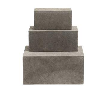 Nordal Coffret de 3 boîtes de rangement - gris