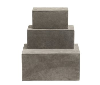 Nordal Kasse opbevaringsbokse sæt med 3 stk - grå
