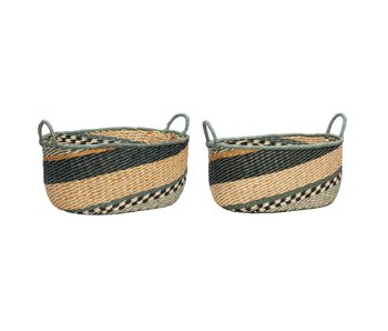 Hubsch Baskets with handles - green set of 2 pieces